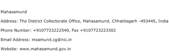Mahasamund Address Contact Number