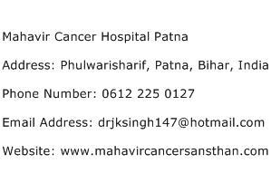 Mahavir Cancer Hospital Patna Address Contact Number