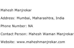 Mahesh Manjrekar Address Contact Number