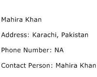 Mahira Khan Address Contact Number