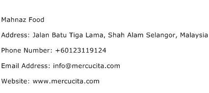 Mahnaz Food Address Contact Number