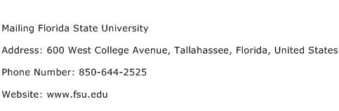 Mailing Florida State University Address Contact Number