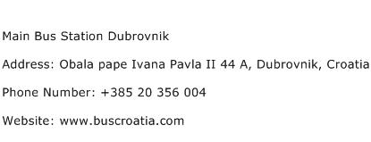 Main Bus Station Dubrovnik Address Contact Number