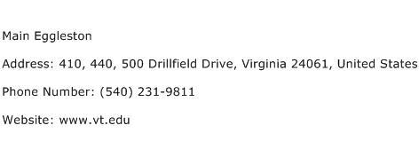 Main Eggleston Address Contact Number