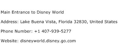 Main Entrance to Disney World Address Contact Number