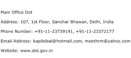 Main Office Dot Address Contact Number