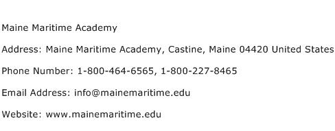 Maine Maritime Academy Address Contact Number