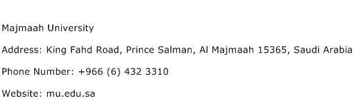 Majmaah University Address Contact Number
