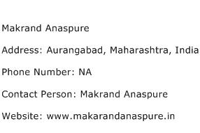 Makrand Anaspure Address, Contact Number of Makrand Anaspure