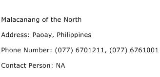 Malacanang of the North Address Contact Number