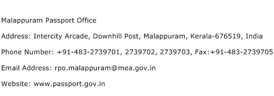 Malappuram Passport Office Address Contact Number