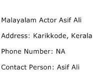 Malayalam Actor Asif Ali Address Contact Number
