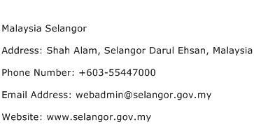 Malaysia Selangor Address Contact Number