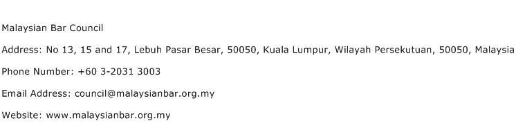 Malaysian Bar Council Address Contact Number