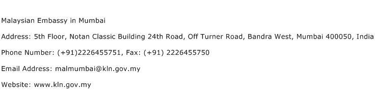 Malaysian Embassy in Mumbai Address Contact Number