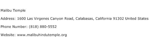 Malibu Temple Address Contact Number