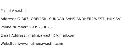 Malini Awasthi Address Contact Number