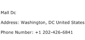 Mall Dc Address Contact Number