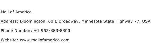 Mall of America Address Contact Number