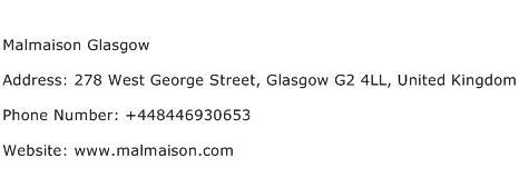 Malmaison Glasgow Address Contact Number
