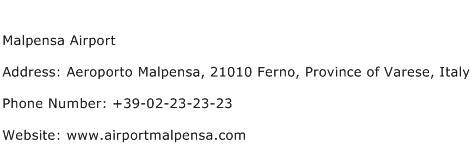 Malpensa Airport Address Contact Number