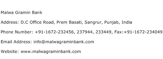 Malwa Gramin Bank Address Contact Number
