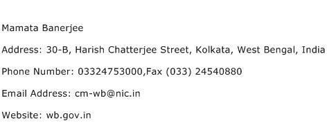 Mamata Banerjee Address Contact Number