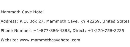 Mammoth Cave Hotel Address Contact Number