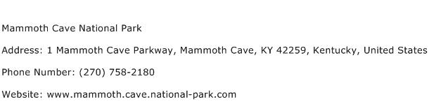 Mammoth Cave National Park Address Contact Number
