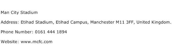 Man City Stadium Address Contact Number