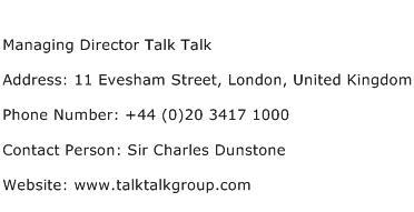 Managing Director Talk Talk Address Contact Number