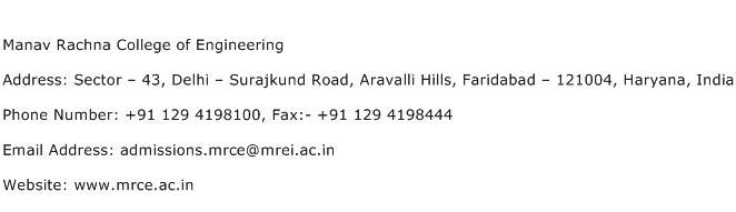 Manav Rachna College of Engineering Address Contact Number