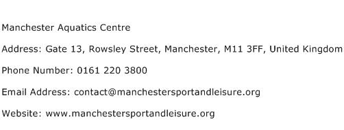 Manchester Aquatics Centre Address Contact Number