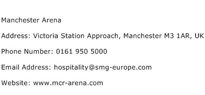 Manchester Arena Address Contact Number