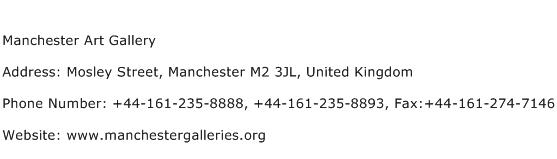 Manchester Art Gallery Address Contact Number
