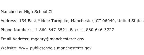 Manchester High School Ct Address Contact Number