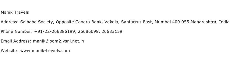 Manik Travels Address Contact Number