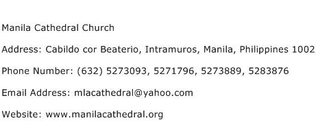 Manila Cathedral Church Address Contact Number