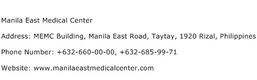 Manila East Medical Center Address Contact Number
