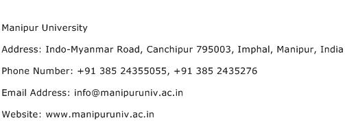 Manipur University Address Contact Number