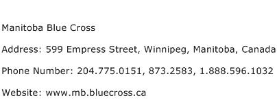 Manitoba Blue Cross Address Contact Number
