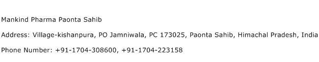 Mankind Pharma Paonta Sahib Address Contact Number