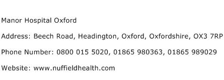 Manor Hospital Oxford Address Contact Number
