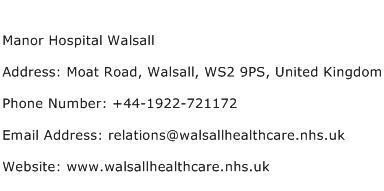 Manor Hospital Walsall Address Contact Number