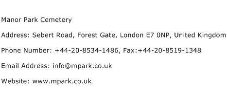 Manor Park Cemetery Address Contact Number