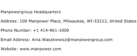 Manpowergroup Headquarters Address Contact Number