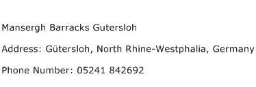 Mansergh Barracks Gutersloh Address Contact Number