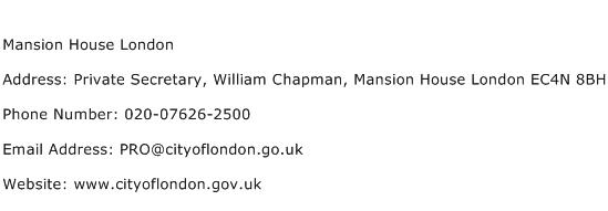Mansion House London Address Contact Number