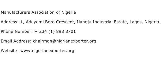 Manufacturers Association of Nigeria Address Contact Number