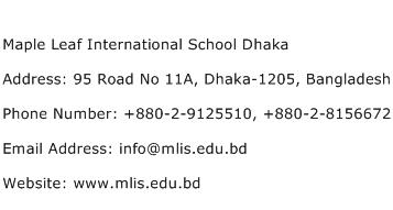 Maple Leaf International School Dhaka Address Contact Number